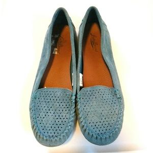 Lucky Brand Women Blue Suede Moccasins